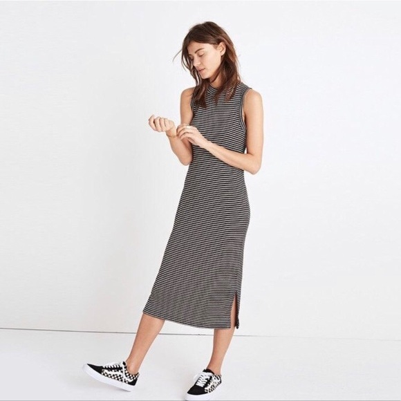 Madewell Dresses & Skirts - Madewell Striped Ribbed Mockneck Midi Dress
